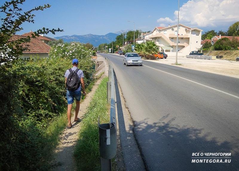 Пешком от аэропорта Тивата до автостанции